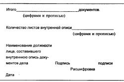 Лист внутренней описи