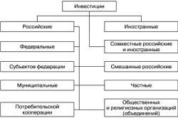 Классификация инвестиций по формам собственности