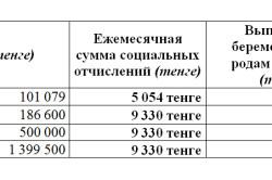 Таблица декретных выплат
