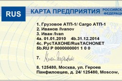 Пример электронной карточки предприятия